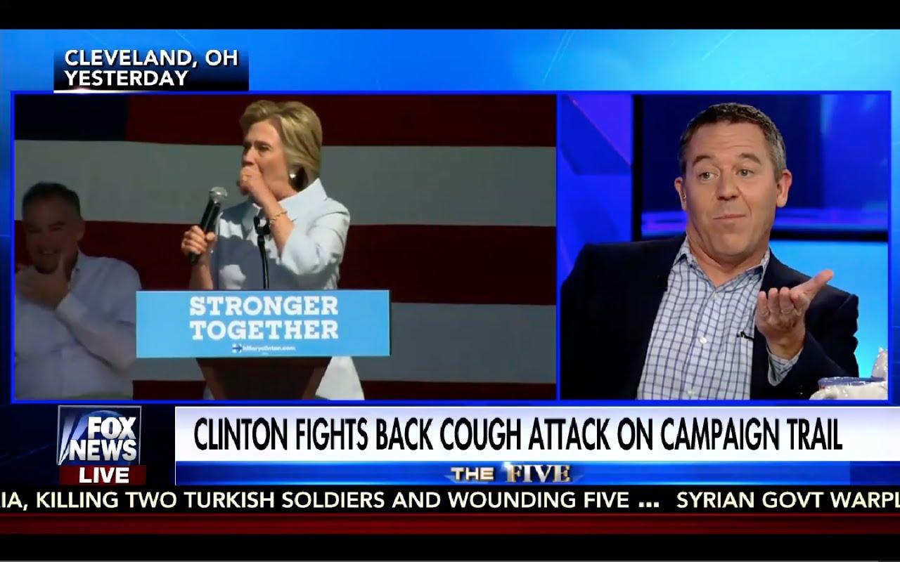 Greg Gutfeld Makes Fun of Hillary Clinton Coughing Attacks! Funny! 9/6/16 4