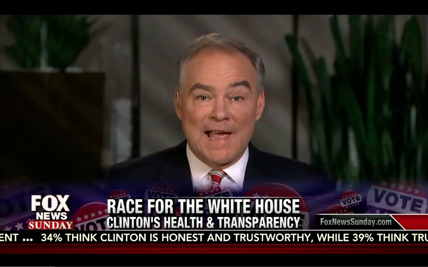Hillary only told Tim Kaine of Her Sickness AFTER he Confronted her! Fox News Sunday 9/18/16 13