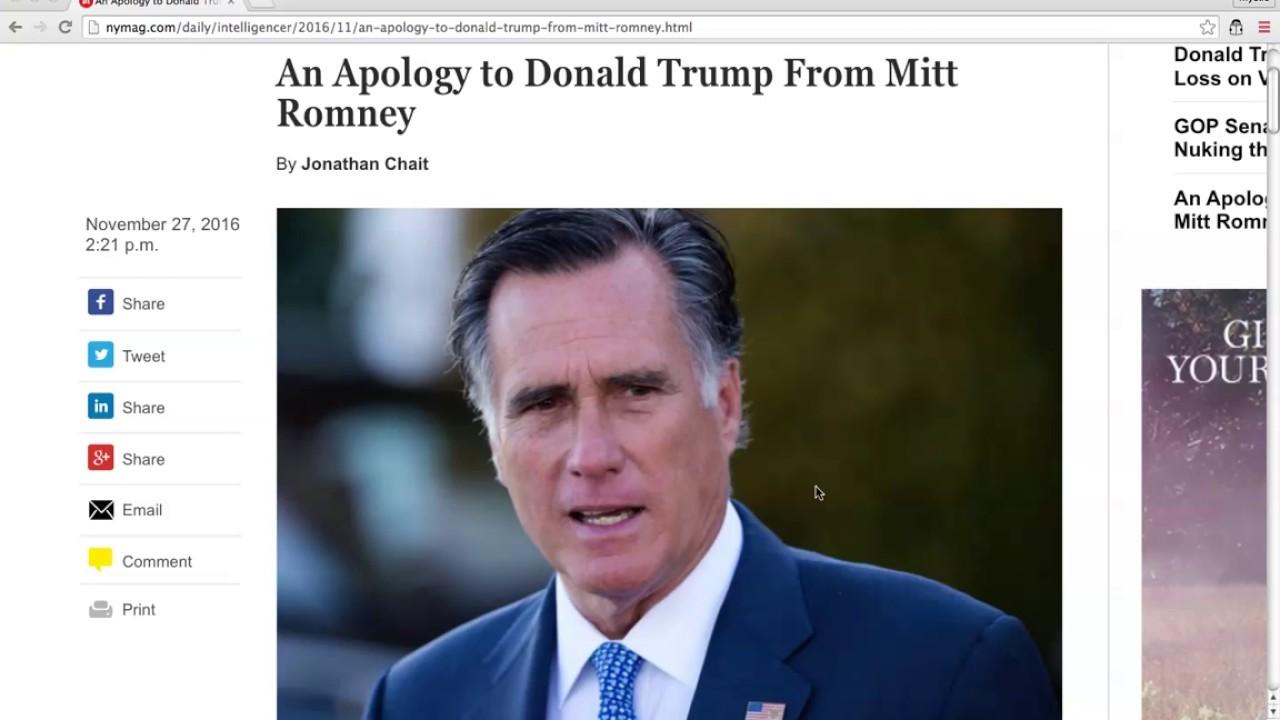 BREAKING: Donald Trump HUMILIATES Mitt Romney! 11/27/16 1