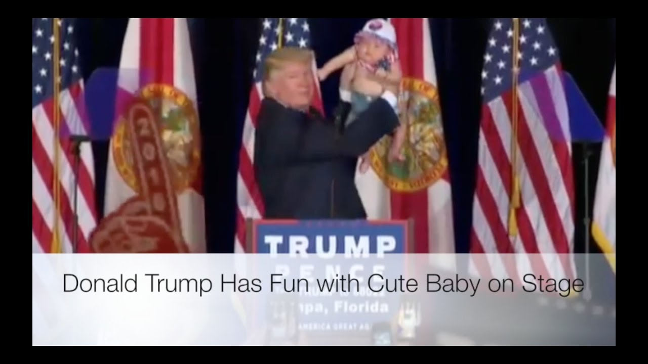 Donald Trump Has Fun with Cute Baby on Stage! 11/5/16 4