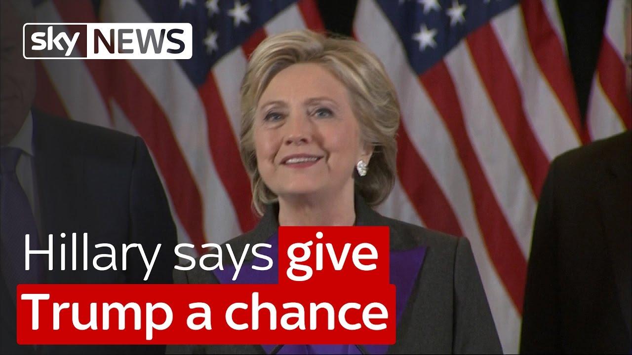 Hillary Clinton says give Trump a chance 7