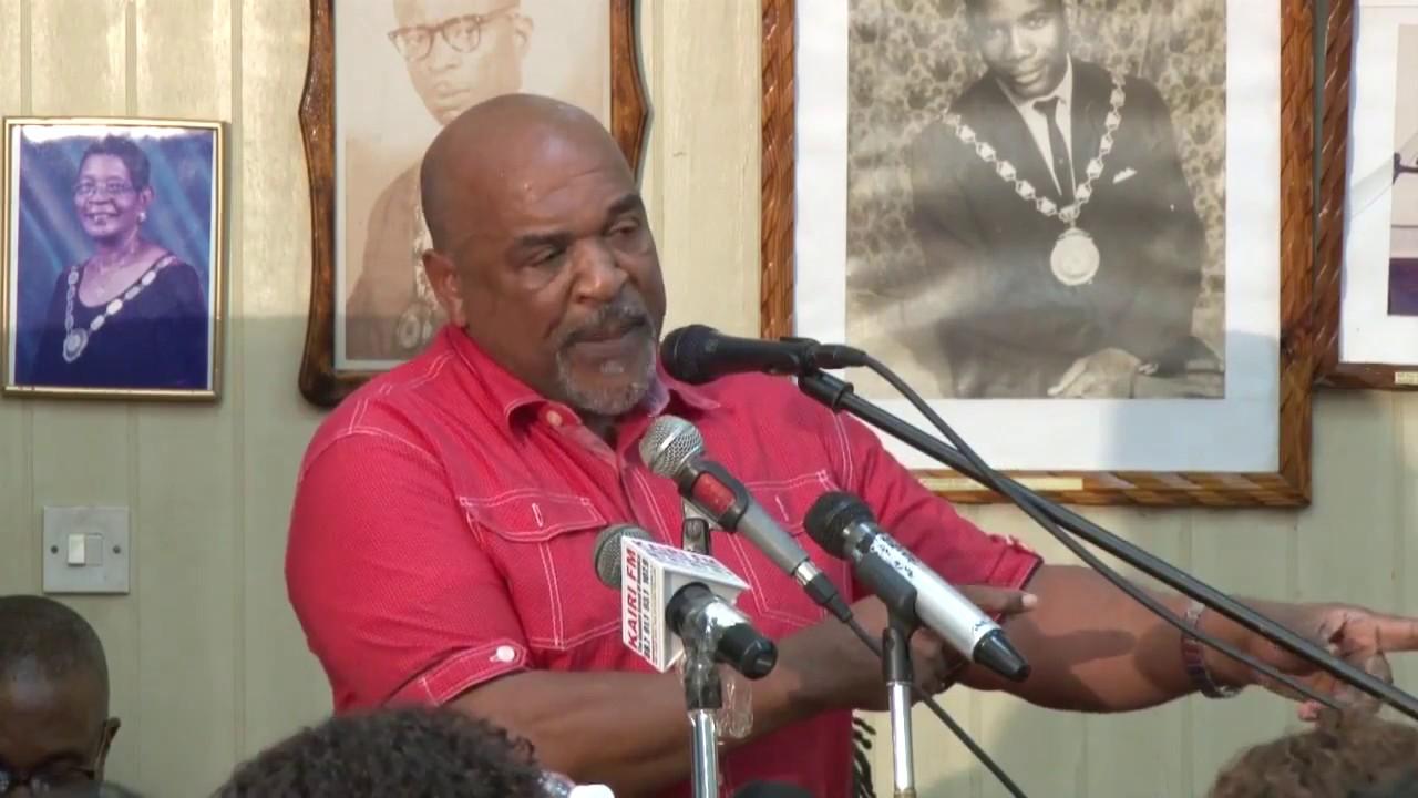 Hon  Reginald Austrie address at Town Hall Meeting in Roseau 1