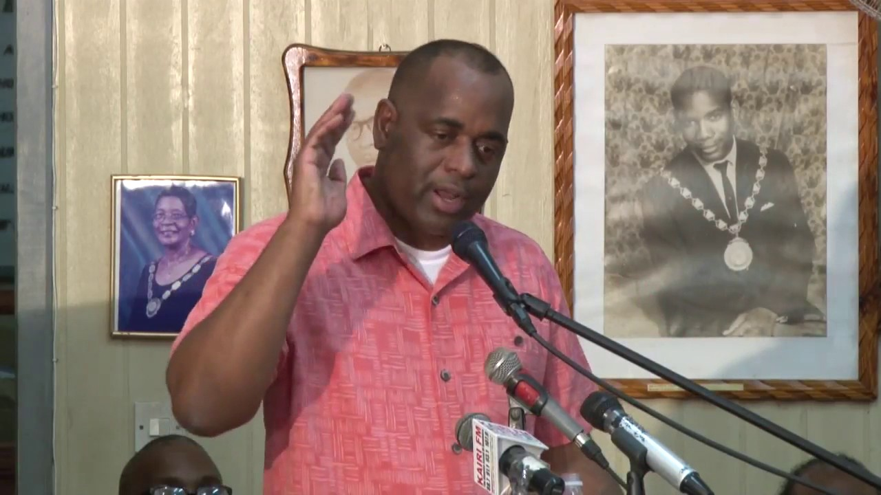 Hon. Prime Minister Roosevelt Skerrit address at town hall meeting in Roseau. 10
