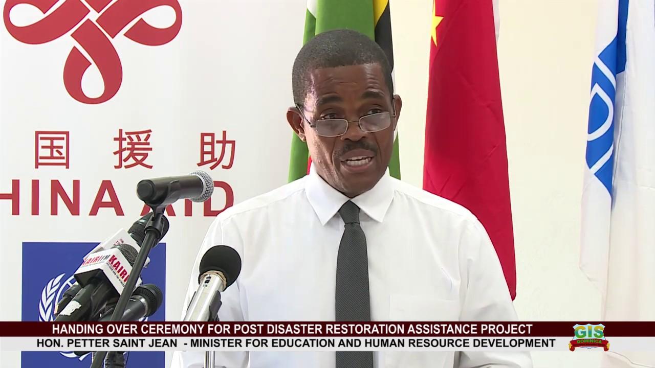 Hon. Petter Saint Jean addresses Hand over ceremony for Post Disaster Restoration Assistance Project 3