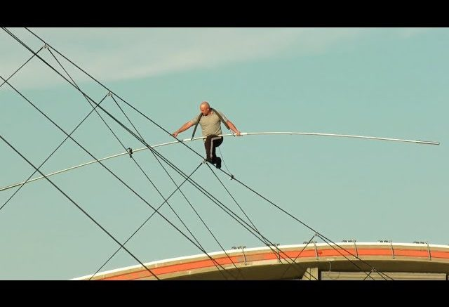 Nik Wallenda's high-wire walk over the Calgary Stampede midway 1