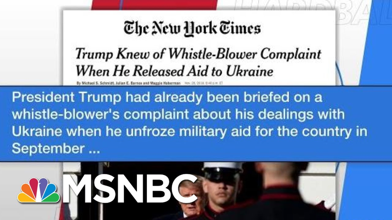 NYT: Trump Already Briefed On Whistleblower When He Unfroze Aid | Hardball | MSNBC 6